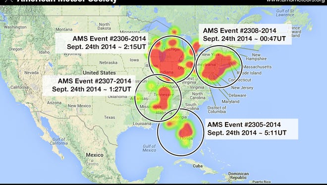 A heat map from the American Meteor Society tracks the number of sightings across the United States.
