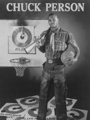"Chuck Person is featured as ""The Rifleman"" in a sports-fantasy poster in 1988."