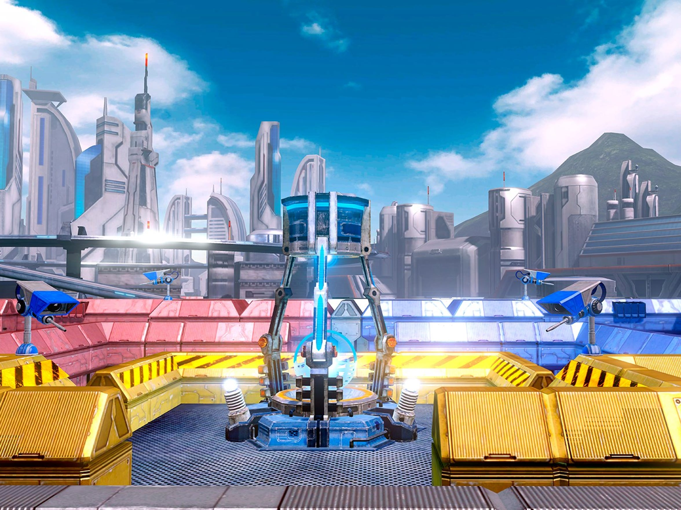 Defend your base from invading robots in Star Fox Guard for the Wii U.