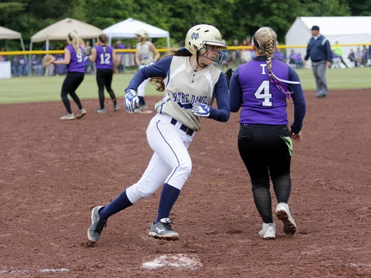 Notre Dame's Morgan Cox runs past third base on her way to score against Ticonderoga during Saturday's Class C state semifinal at Moreau Recreational Park in South Glens Falls.