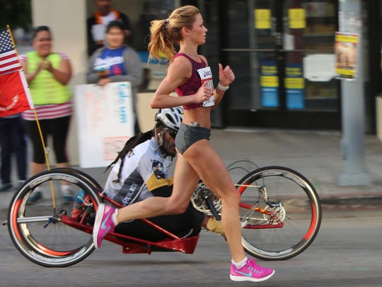 Dawn Grunnagle competes in her first marathon in January 2015 in Los Angeles.