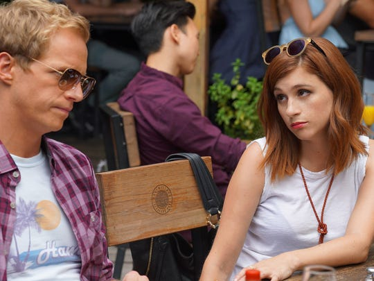 Chris Geere as Jimmy Shive-Overly, Aya Cash as Gretchen Cutler on 'You're the Worst.'