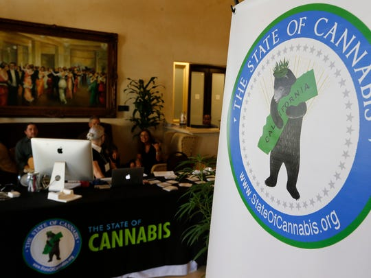 "A banner for ""The State of Cannabis,"" a California industry group meeting is displayed in a lobby of a hotel in Long Beach on Thursday. California's emerging marijuana industry is being rattled by an array of unknowns as the state races to issue its first licenses to grow and sell legal recreational pot on Jan. 1."