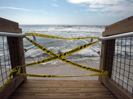 Hurricane Nate recovery efforts continue in Navarre and Pensacola Beach, but reminders of the storm remain Monday, Oct. 9, 2017.
