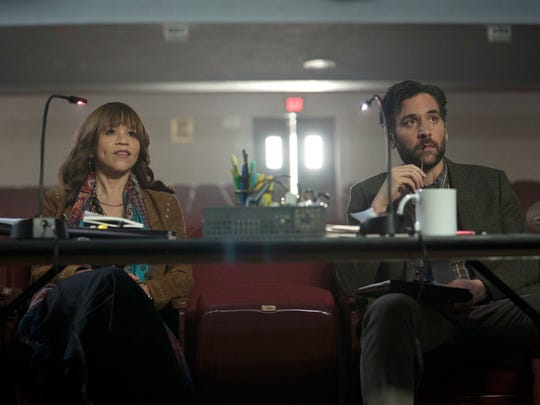 """Rosie Perez and Josh Radnor in a scene from """"Rise,"""" which premieres on NBC at 10 p.m., March 13. To mark the premiere, NBC has awarded 50 """"Rise grants"""" to theater programs across the country, including two in Westchester: Peekskill and Hastings."""