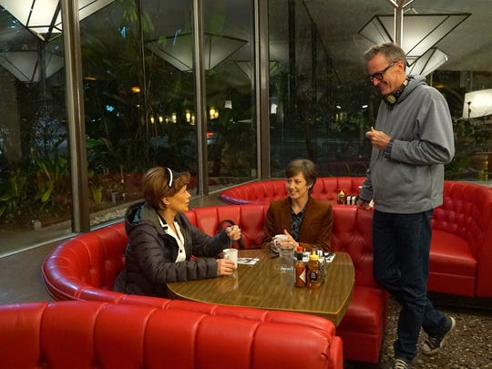 Pictured (l-r): Frances Fisher, Carrie Coon and John Cameron on set of season three of FX's 'Fargo.'