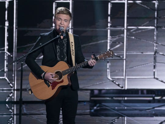 "Caleb Lee Hutchinson performs on ""American Idol."" The"