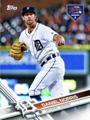 Custom Topps baseball card of Daniel Norris for the Autographs For A Cause program