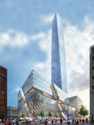 A rendering of the planned, 52-story, 734-foot  development on the former Hudson's site in Detroit. It would be the tallest building in the city.