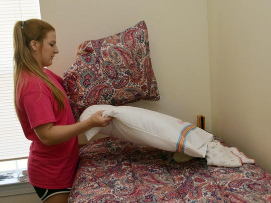 Skylar Ardoin, an LSUA freshman, moved into her dorm room at LSUA Tuesday.