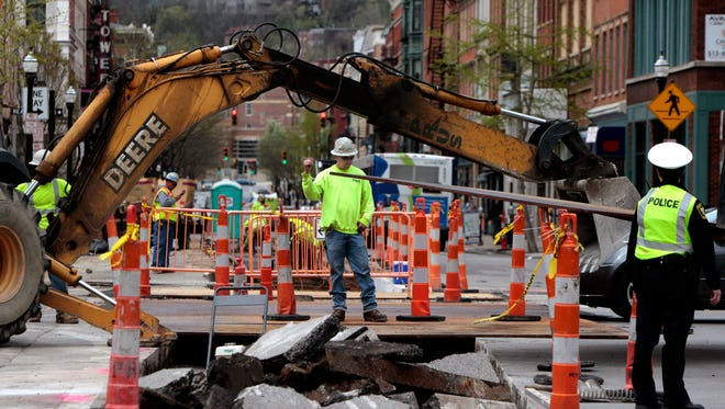 Construction continues this week on streetcar tracks along Main Street in Over-the-Rhine.