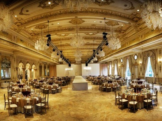 The lavish Mar-a-Lago ballroom that Trump built at a cost of $9 million after acquiring the former Marjorie Merrieweather Post estate. His and Donald J. Trump Jr.'s wedding receptions were held here 11 months apart.