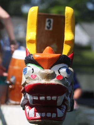 Teams compete in a mock Dragon Boat Race on Bayou DeSiard during a press release head of Saturday's annual race in Monroe, La., Tuesday, May 9, 2017. The races benefit the Children's Coalition for Northeast Louisiana. The annual event will take place on Saturday at the corner of Loop Road and Forsythe Avenue beginning at 9 a.m. with a Family Fun Run. The dragon boat races will start at noon.