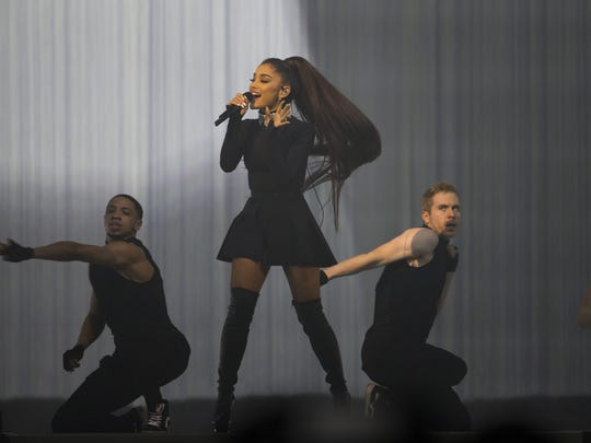 Ariana Grande performs at Talking Stick Resort Arena on Feb. 3, 2017 in Phoenix.