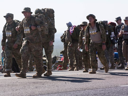 The 7,200 participants many active duty or retired military participated in the 26.2 mile Bataan Memorial Death March, Sunday, March 19, 2017. Many of the participants said that as they walked the course they thought of  the soldiers who had to make the Bataan Death March in 1942 to keep themselves motivated through the course.