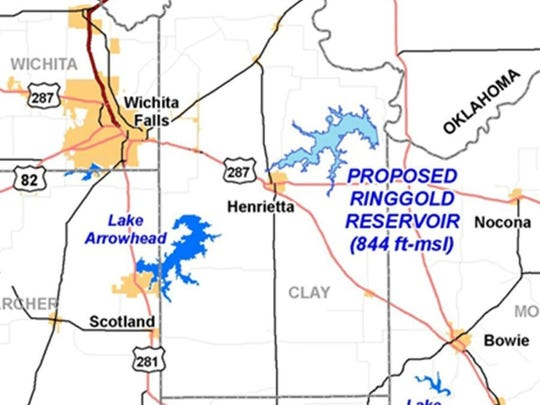 Contributed graphic The proposed location of Lake Ringgold is northeast of Henrietta, the county seat of Clay County.