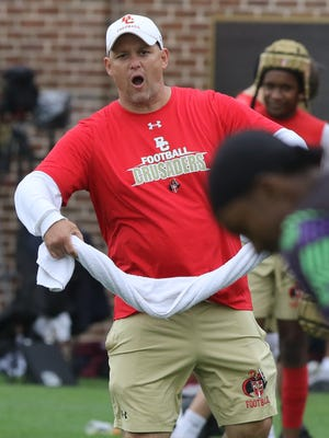 Bergen Catholic head coach Vito Campanile yells instructions to his team in their game against Hillhouse during  the 7-on-7 football tournament at Rutgers University on Saturday, June 23, 2018.