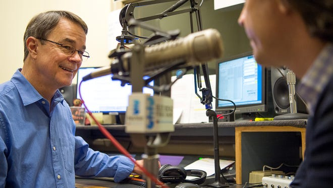 Dick Kowal chats with Asheville Symphony Director Daniel Meyer before interviewing him on the air Friday afternoon at Blue Ridge Public Radio.
