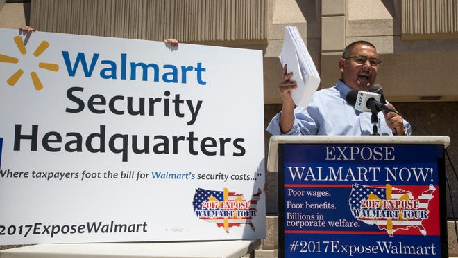 Maricopa County Supervisor Steve Gallardo speaks during a Walmart protest, May 15, 2017, at the Phoenix Police Department, 620 W. Washington Street, Phoenix.