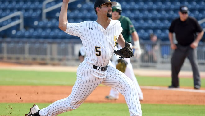Southern Miss pitcher Nick Sandlin throws the ball in their first game against UAB in the C-USA tournament in Biloxi on Thursday, May 24, 2018.
