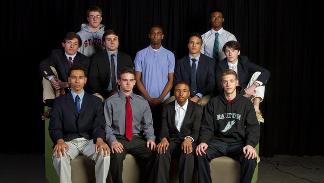 The 2014-15 Asbury Park Press All-Shore Boys Track Team of: (top) Luke Grodeska and Nate Bowie; (middle) Mike Somma, Jack Devizia, Nasir Haines, Mike Zupko and Blaise Ferro; (bottom) David Sorrentino, Matthew Isaacson, Marvin Morgan and Joseph Cawley.