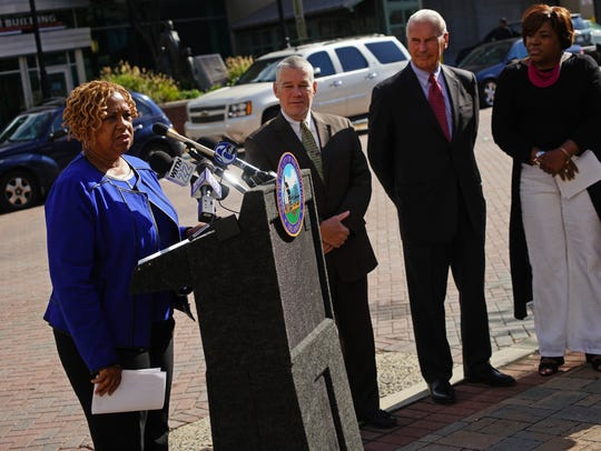 Wilmington City Council President Hanifa Shabazz speaks at the unveiling of a new Parkmobile payment for metered parking in downtown Wilmington.