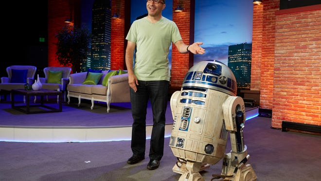 Hadi Partovi, CEO and co-founder of Code.org, introduces R2-D2 on Tuesday as he announces a partnership with Disney and Lucasfilm to bring 'Star Wars' and 'Frozen' coding courses to children.