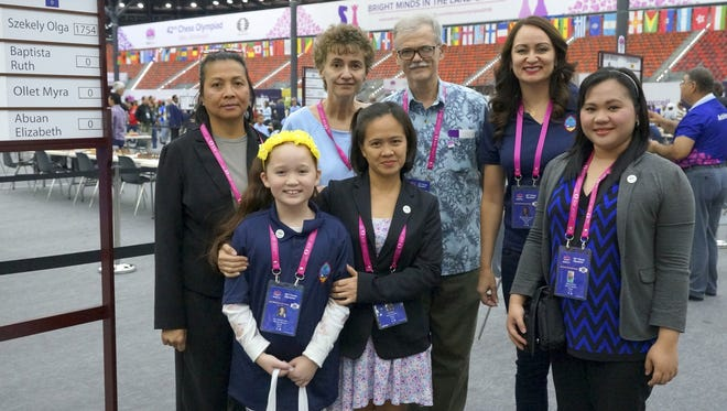 ​The Guam Chess Federation has a men's team and a women's team competing at the 2016 World Chess Olympiad in Baku, Azerbaijan. The women's team, from left: Elizabeth Abuan, Ava San Nicolas, Olga Szekely, Myra Ollet, Zoltan Szekely (captain), Yvonne San Nicolas (national chess team captain), and Ruth Anne Baptista.