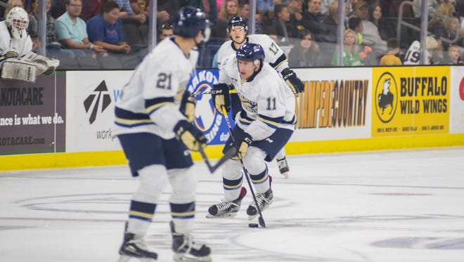 Austin Albrecht (11) has provided Stampede with some early-season goal-scoring punch.