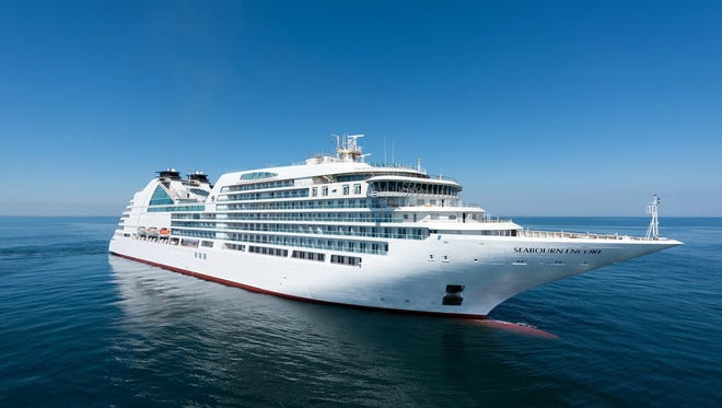 Luxury line Seabourn's 600-passenger Seabourn Encore during sea trials off the coasts of Italy.
