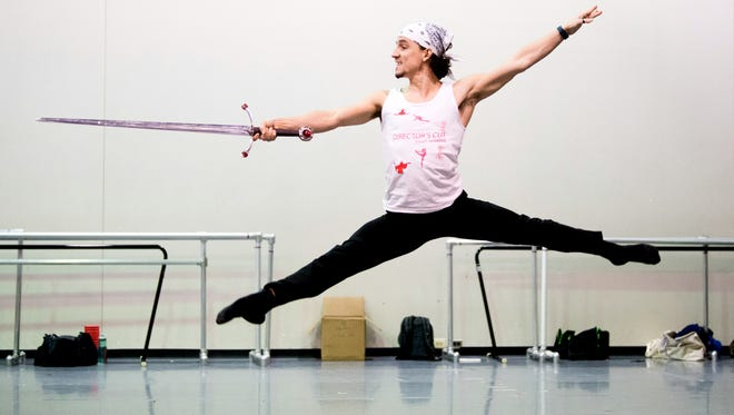 """Cervilio Miguel Amador stars King Arthur in one of the two casts that will perform Cincinnati Ballet's """"King Arthur's Camelot,"""" with choreography by artistic director/CEO Victoria Morgan. He is seen here in rehearsal."""