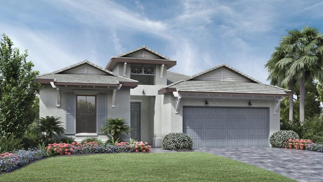 Palazzo at Naples, featuring the Massiano Island Colonial shown, offers six home designs priced starting in the mid-$400s.