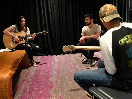Employees at WME use the listening room to jam in Nashville, Tenn., Wednesday, May 16, 2018.