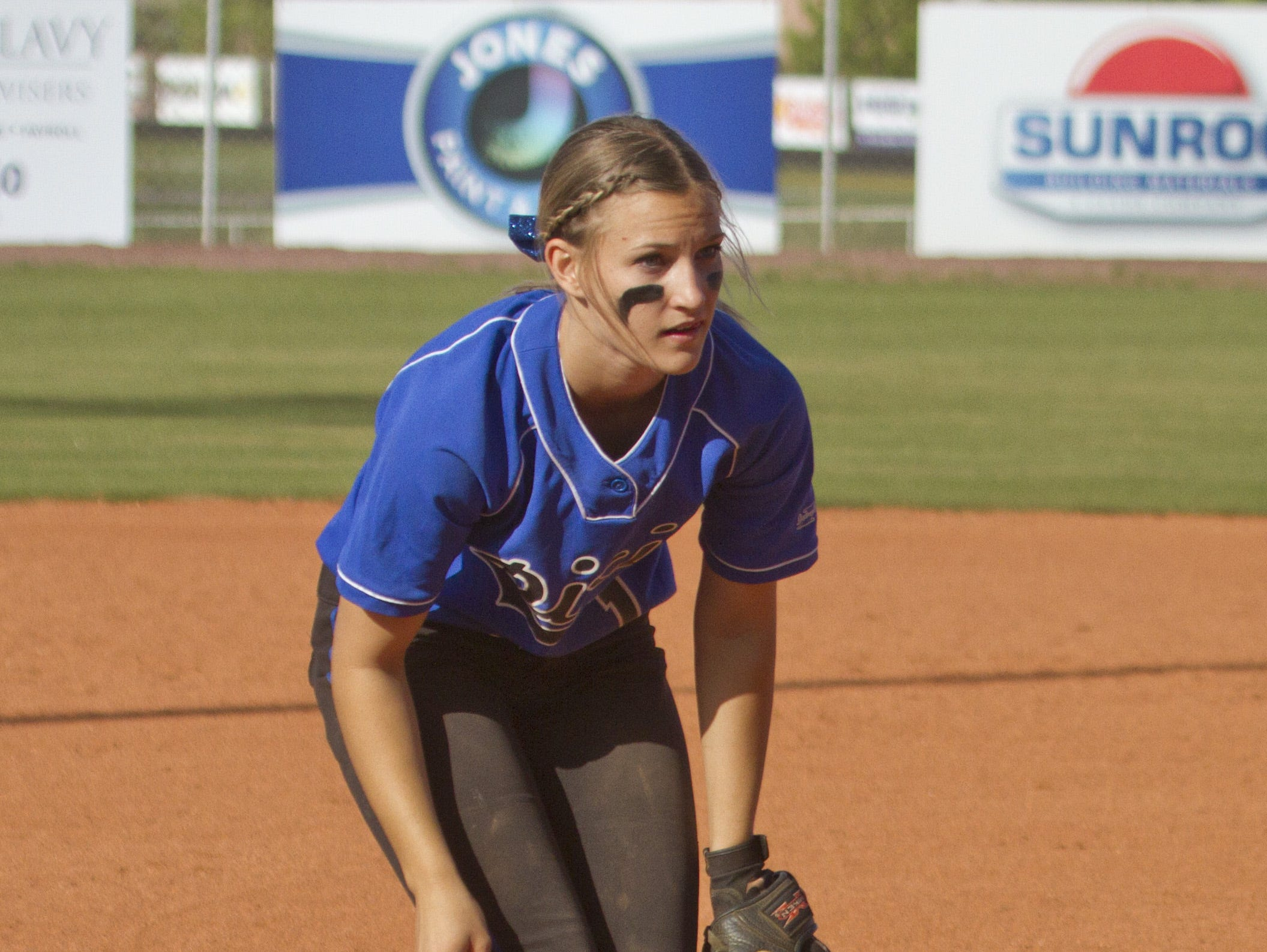 Dixie infielder Stacia Gelter watches for the ball during a game against Desert Hills on Tuesday.