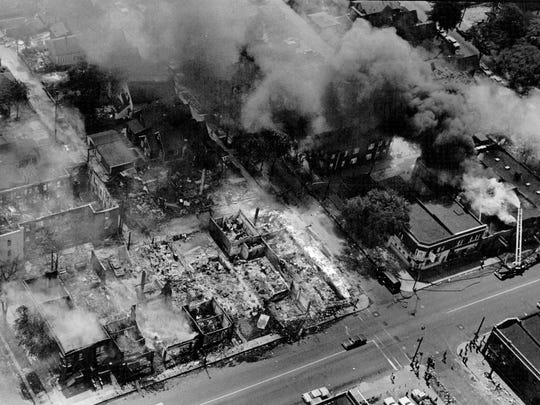 The streets of Detroit burn during the riots of 1967.