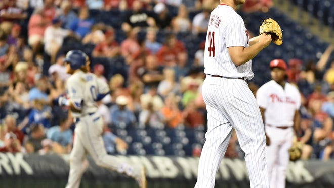 Phillies starting pitcher Jake Thompson reacts after allowing a two-run home run to Los Angeles Dodgers third baseman Justin Turner during the fifth inning Wednesday at Citizens Bank Park.
