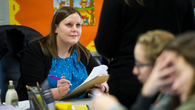 Sasha Hudson questions students during her Spanish 1 class at Central High School Dec. 7. Hudson has been teaching at Central for eight years.