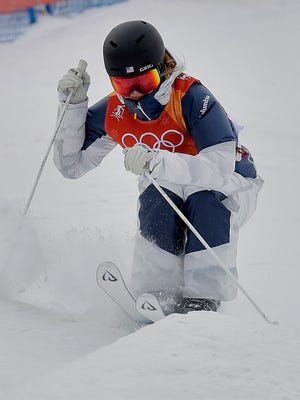 Morgan Schild of Pittsford runs the course during the women's moguls qualifying at the 2018 Winter Olympics in Pyeongchang, South Korea, on Friday, Feb. 9, 2018.