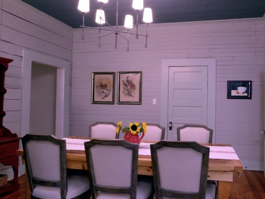 The renovated dining room included a table built by