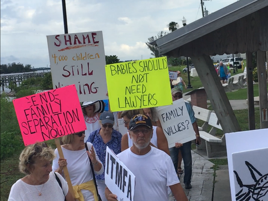 More than 150 people met near Riverview Park in Sebastian