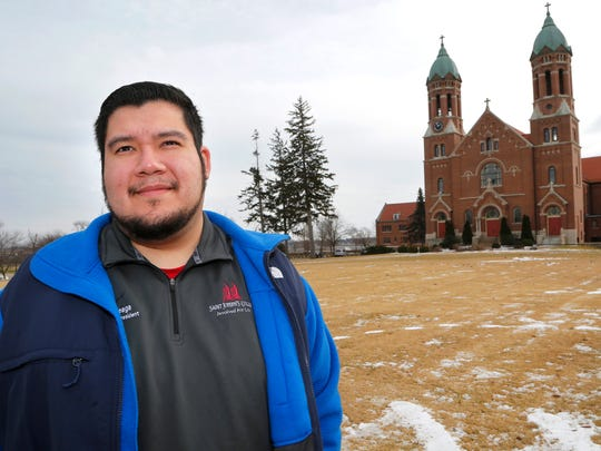 Jose Arteaga on the campus of Saint Joseph's College