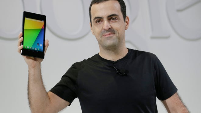Hugo Barra, then of Google, displays the new Nexus 7 tablet on Wednesday, July 24, 2013, in San Francisco.