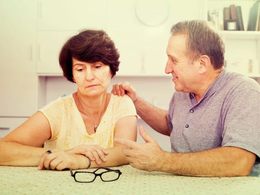 Tired mature woman having issues with her husband
