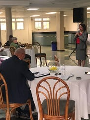 Perth Amboy Mayor Wilda Diaz speaks during a conference
