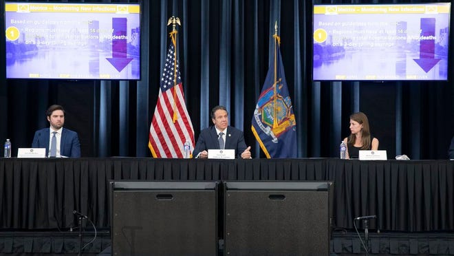 Governor Andrew M. Cuomo provides a coronavirus update during a press conference in  Rochester.
