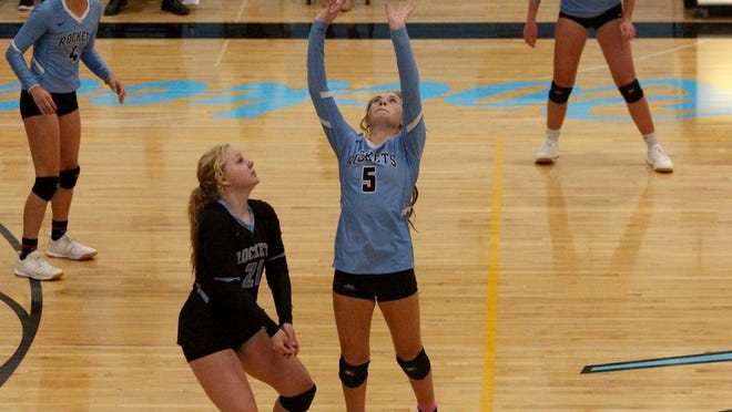 Junior setter Kennedy Demester sets up her teammates for an offensive play in a game against Carrington on Sept. 17 at New Rockford-Sheyenne High School. The Rockets lost 3-1.