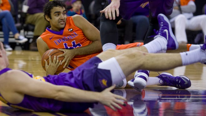 Evansville's David Howard grabs a loose ball against Northern Iowa during their game at The Ford Center Sunday afternoon.