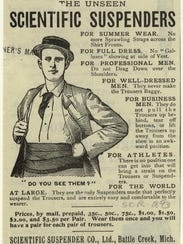 An advertisement for the Scientific Suspenders Company