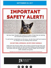 A moblie alert about stray dogs on the Jackson State
