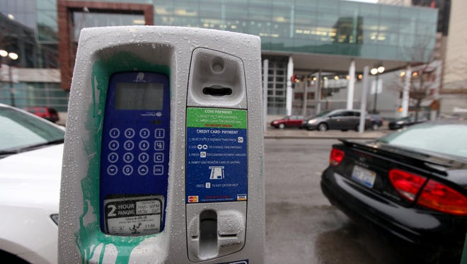 Parking meters on Broadway St. in downtown Detroit  April 7,  2014.